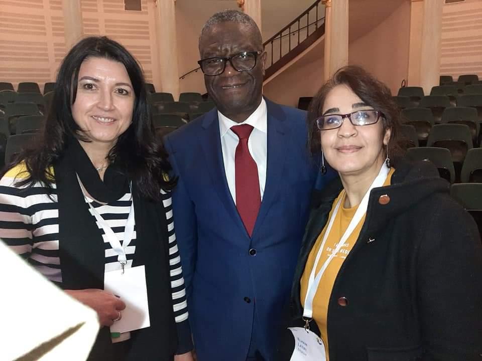 Photo avec Denis Mukwege, Prix Nobel de la paix 2018 et Elham Latifi, chercheuse en anthropologie et interprète